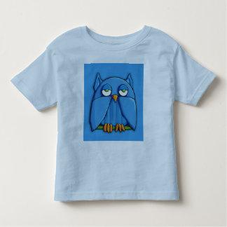 Camiseta de los niños de la aguamarina del búho de playeras