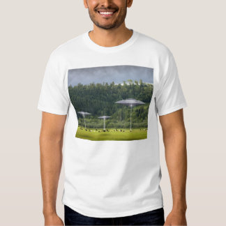 Camiseta de los platillos del UFO tres Poleras
