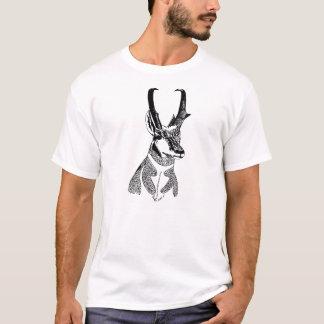 Camiseta de madera del antílope de la insignia