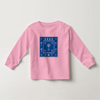 Camiseta de manga larga azul del niño del adorno