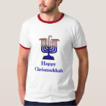 Camiseta de Menorah del bastón de caramelo de Poleras