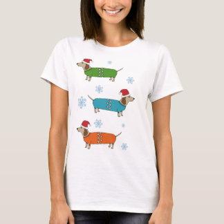 Camiseta de Navidad de los perros de salchicha del