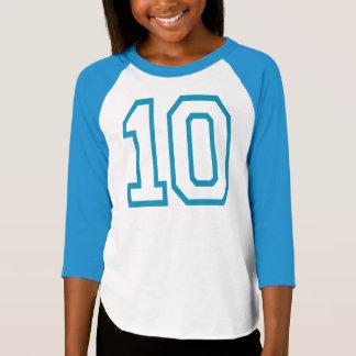Camiseta de neón del CUMPLEAÑOS del azul #10 del