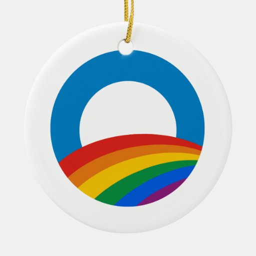 Camiseta de Obama del orgullo gay Adorno Navideño Redondo De Cerámica