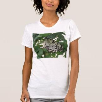 Camiseta de papel tropical de la mariposa de la
