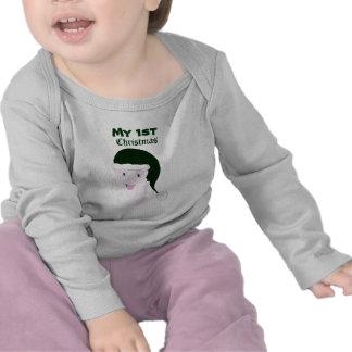 Camiseta de risa del bebé de Santa (verde)