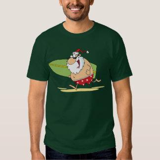 Camiseta de Santa que practica surf Remeras