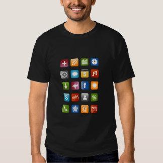 Camiseta de Smartphone con los iconos coloridos Playera
