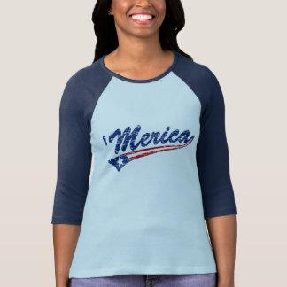 Camiseta de Swoosh del Bandera-Estilo de Merica Playeras
