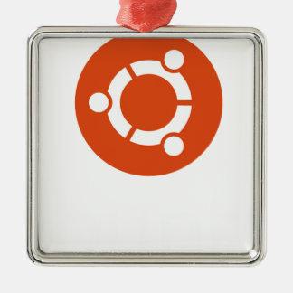 Camiseta de Ubuntu Linux Adorno Navideño Cuadrado De Metal