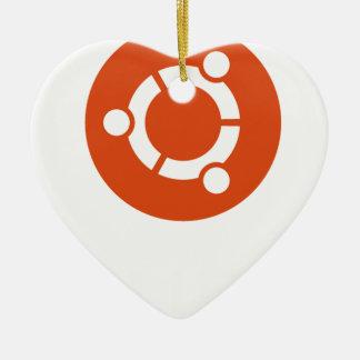 Camiseta de Ubuntu Linux Adorno Navideño De Cerámica En Forma De Corazón
