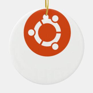 Camiseta de Ubuntu Linux Adorno Navideño Redondo De Cerámica