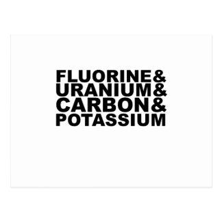 Camiseta de uranio L.png del potasio del carbono Tarjetas Postales