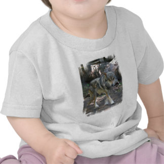 Camiseta de vagabundeo del bebé del lobo
