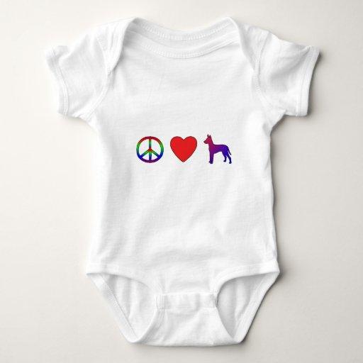 Camiseta de Xoloitzcuintlis del amor de la paz