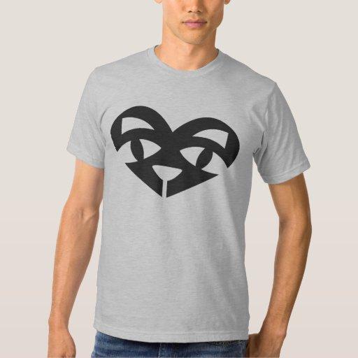 Camiseta del AA del corazón del gato Remeras