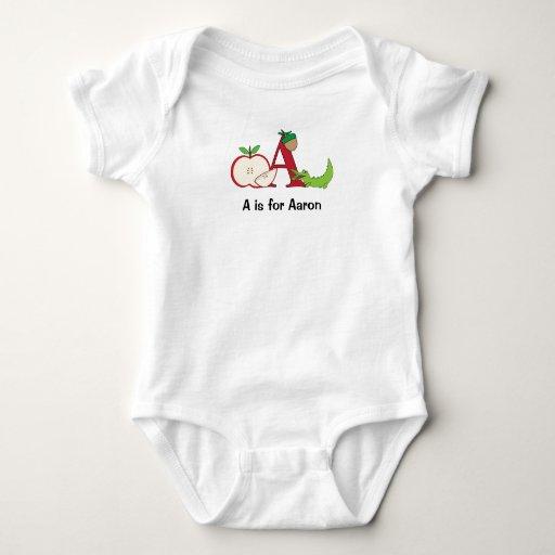 Camiseta del alfabeto A para los muchachos - añada