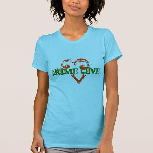 Camiseta del amor del animado de las mujeres playera