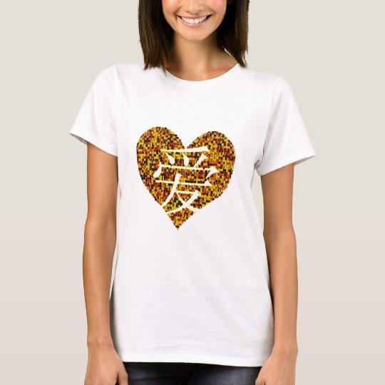 Camiseta del amor del kanji del corazón del oro