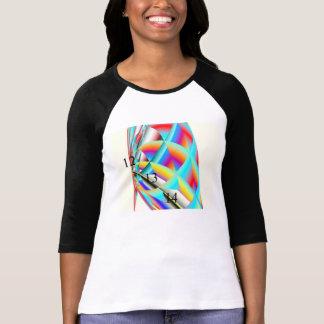 Camiseta del arco iris del raglán de las señoras 1