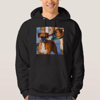 Camiseta del arte de dos boxeadores sudadera encapuchada