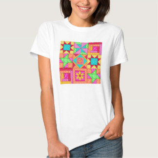 Camiseta del arte del bloque del edredón de playeras