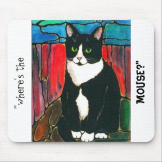 Camiseta del arte del diseño del vitral del gato d mouse pad