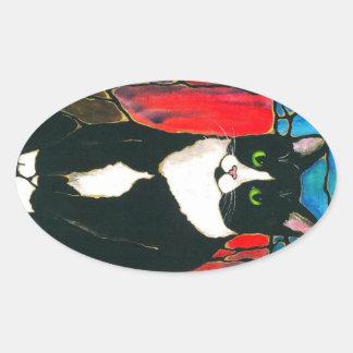 Camiseta del arte del diseño del vitral del gato calcomania ovalada