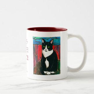 Camiseta del arte del diseño del vitral del gato taza dos tonos