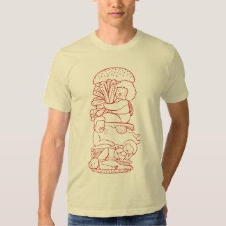 Camiseta del arte del Doodle de la hamburguesa Playeras