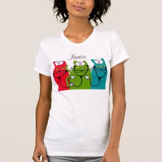 Camiseta del arte del gato de la enfermera