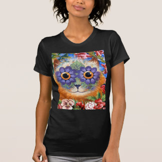 Camiseta del arte del gato de la flor de Wain del