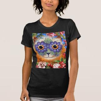 Camiseta del arte del gato de la flor de Wain del Playera