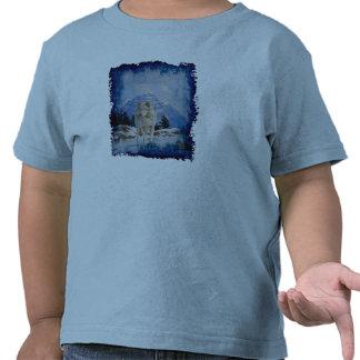 Camiseta del arte del lobo gris y de la fauna de