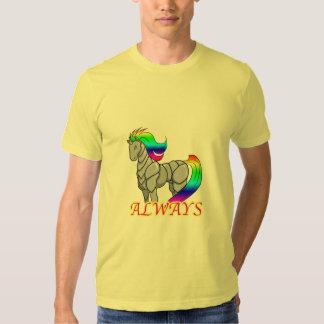 Camiseta del ataque del unicornio del robot poleras