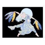 Camiseta del bailarín de la luna azul postal