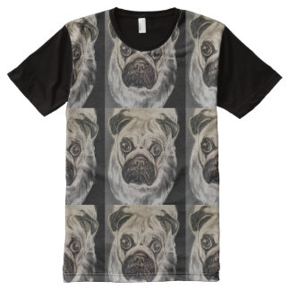Camiseta del barro amasado con las ilustraciones playera con estampado integral