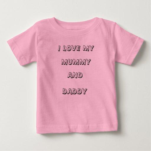 Camiseta del bebé - amor de I mi momia y papá