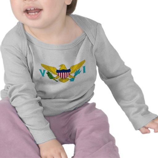 Camiseta del bebé con la bandera de las Islas Vírg
