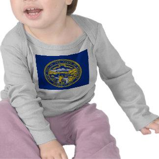 Camiseta del bebé con la bandera de Nebraska