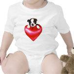 Camiseta del bebé de Boston Terrier del amor