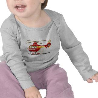 Camiseta del bebé de la ambulancia del helicóptero