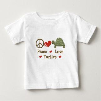 Camiseta del bebé de las tortugas del amor de la polera