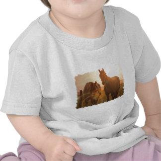 Camiseta del bebé de los caballos de la puesta del