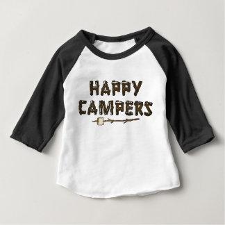 Camiseta del bebé de los campistas contentos del