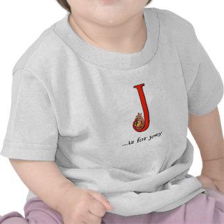 Camiseta del bebé del alfabeto: J está para Joey