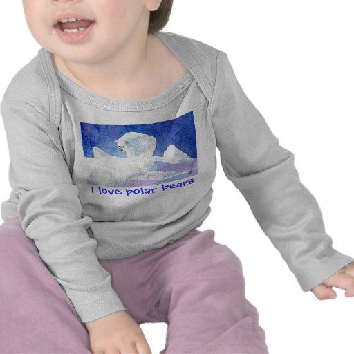 Camiseta del bebé del amor del oso polar