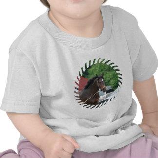 Camiseta del bebé del caballo de bahía que se