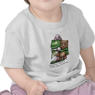 Camiseta del bebé del dragón y del oso