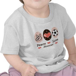 Camiseta del bebé del fútbol del amor de la paz
